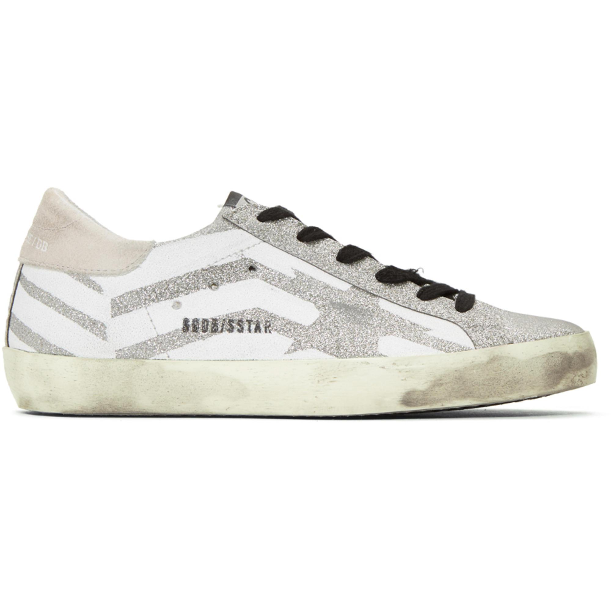 eb3bf85570 Golden Goose Deluxe Brand Metallic Silver Glitter Star And Flag Superstar  Sneakers for men