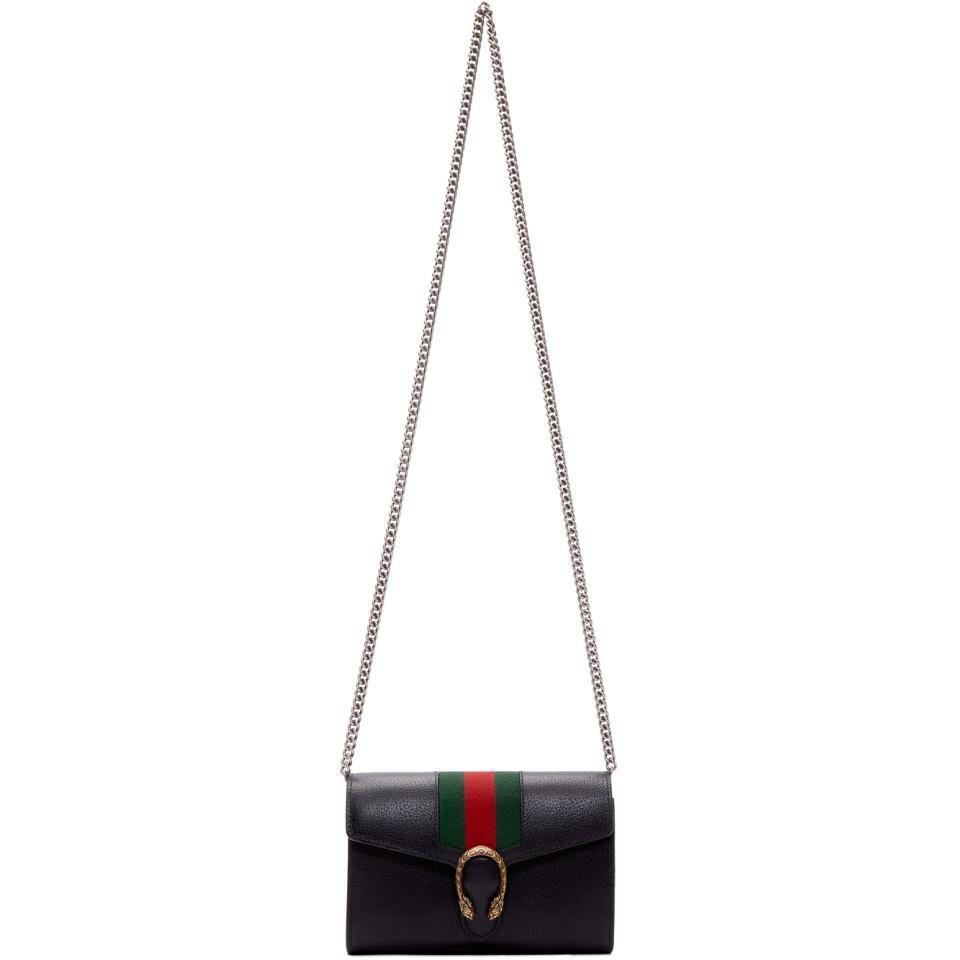 38467f82e5ad Gucci Black Web Dionysus Chain Wallet Bag in Black - Lyst