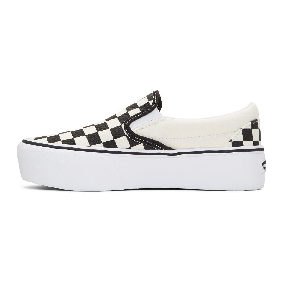 52f3053573 Lyst - Vans Black And Off-white Checkerboard Classic Platform Slip ...