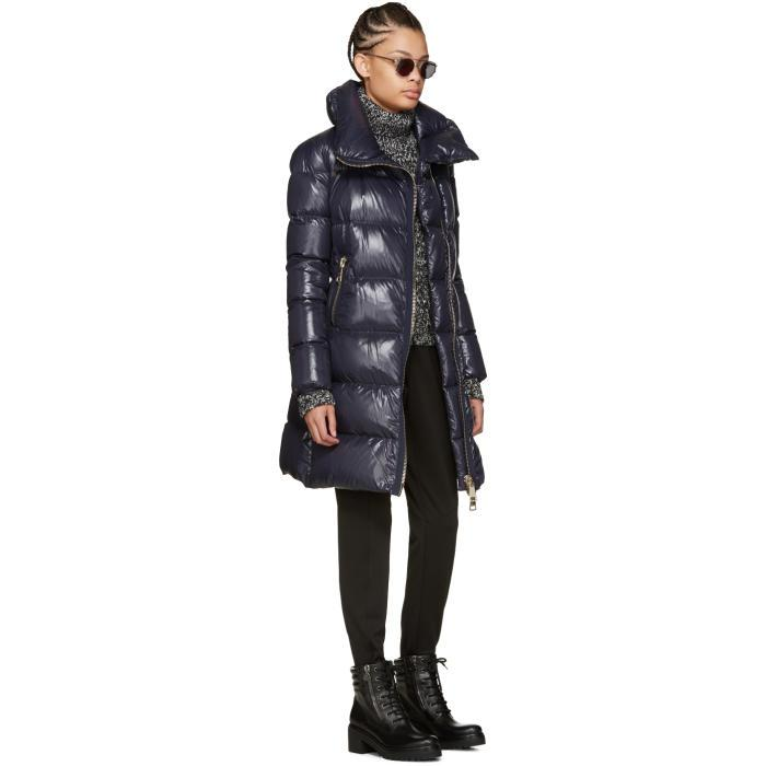 lyst moncler navy down joinville coat in blue rh lyst com