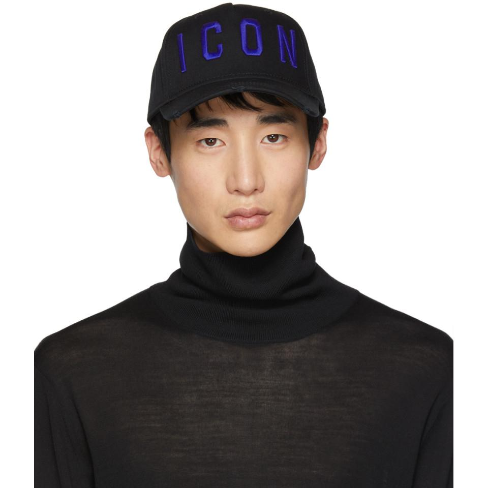 bb99793c8 DSquared² Black And Blue Icon Baseball Cap in Black for Men - Lyst