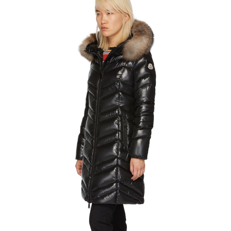 ec6e23ccf6bd Moncler - Black Down And Fur Fulmar Coat - Lyst. View fullscreen