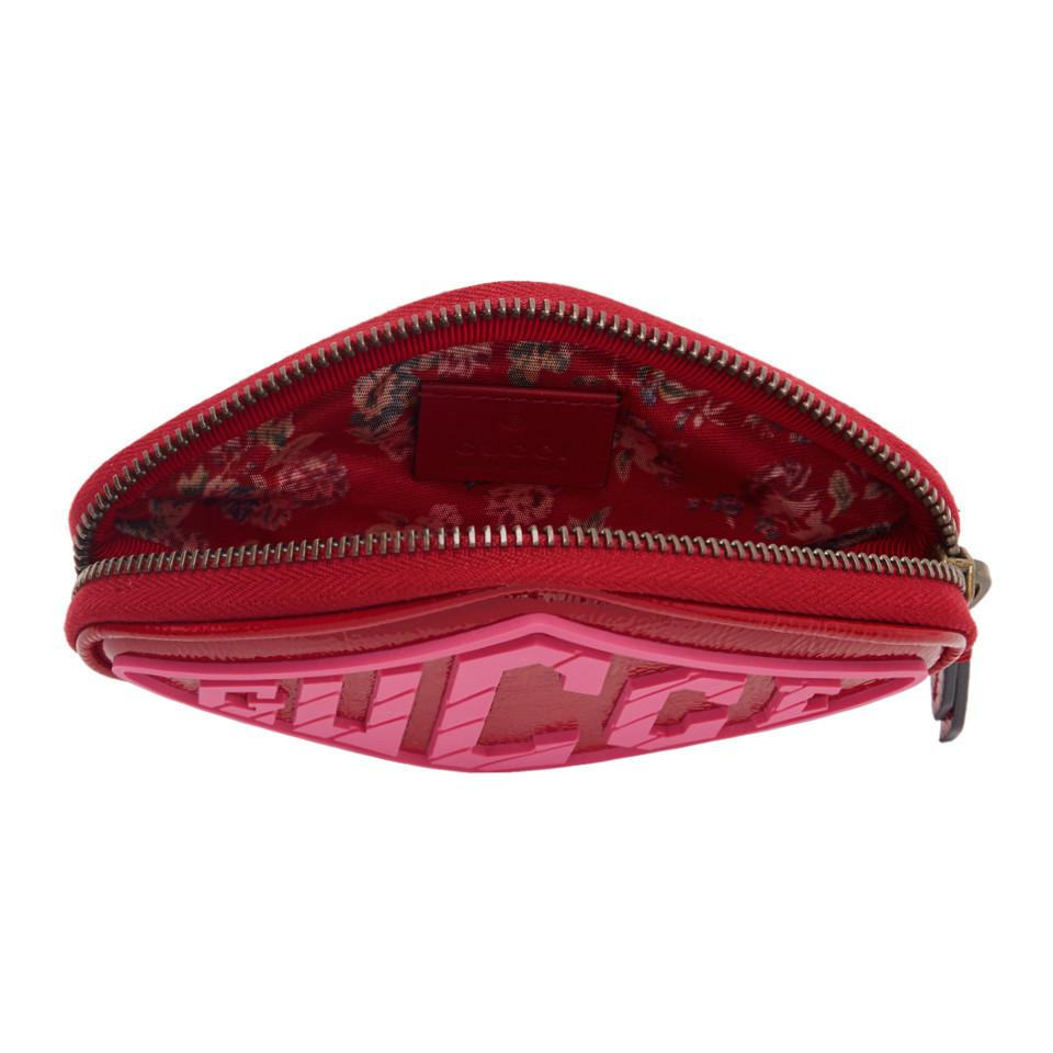 9fcf7059d6b2 Gucci - Red Patent Small Logo Wrist Pouch - Lyst. View fullscreen