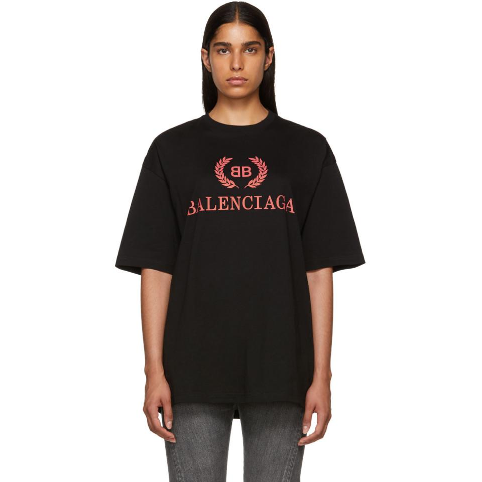 44930e4416b Balenciaga Black Oversized Classic Bb T-shirt