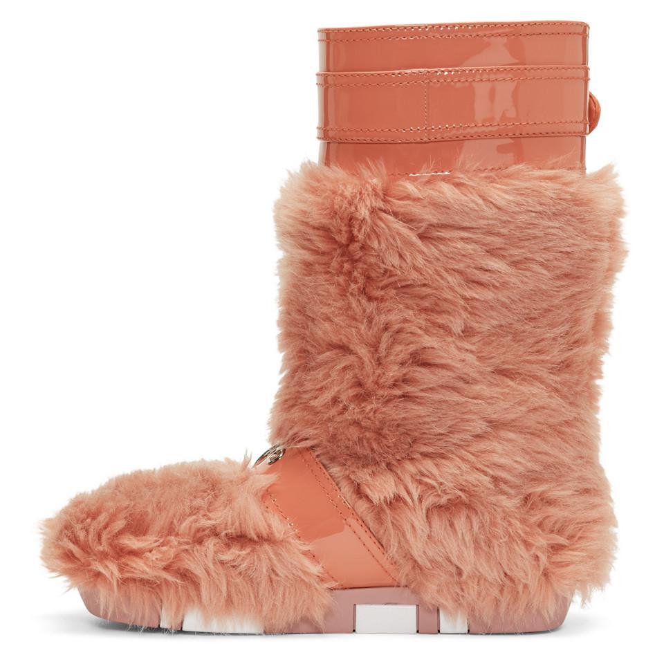 Maison Margiela Pink Eco Shearling Moon Boots Cj6yoti