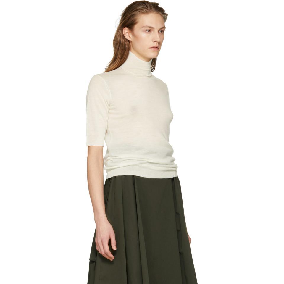 JOSEPH Cashmere Ivory High Neck Cashair Sweater in White