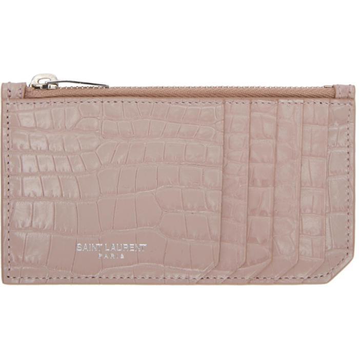 268387e4e9b Saint Laurent Pink Croc Five Fragments Zip Card Holder in Pink - Lyst