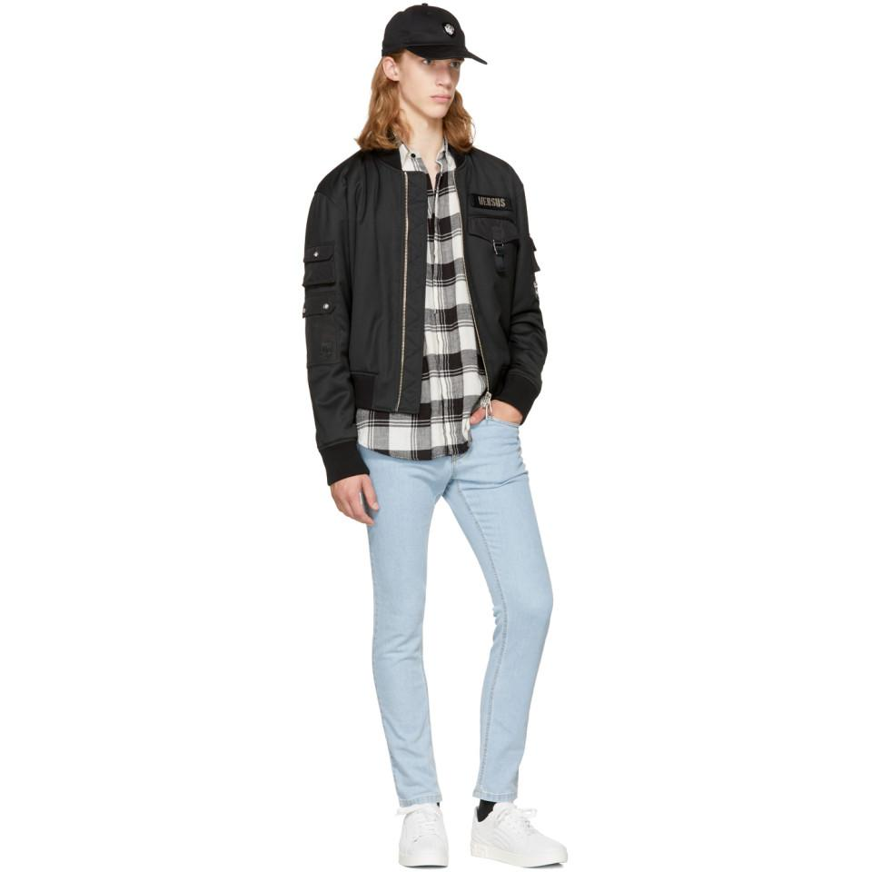 Versus Black Logo Patch Bomber Jacket for Men