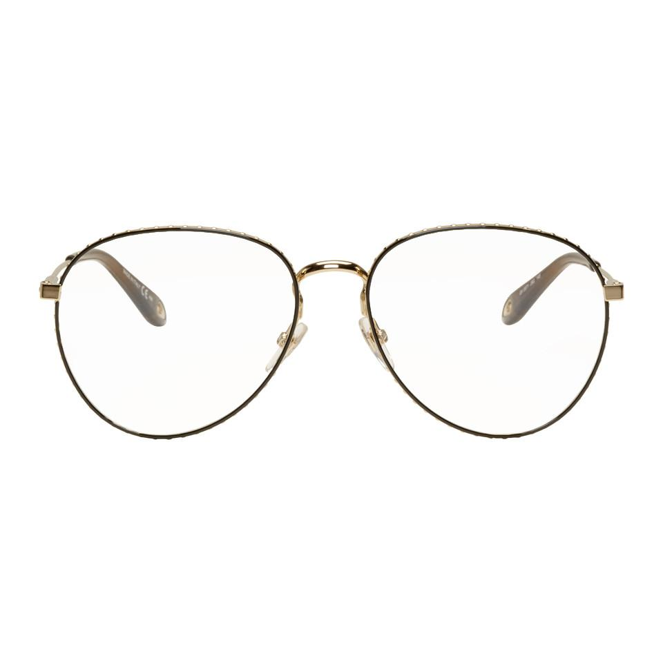 9bf43cd9cc2f Givenchy - Metallic Gold And Brown Studded Edge Aviator Glasses - Lyst.  View fullscreen