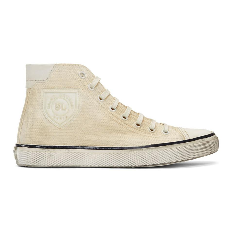 5a0d2715390 Saint Laurent White Bedford High-top Sneakers in White - Lyst