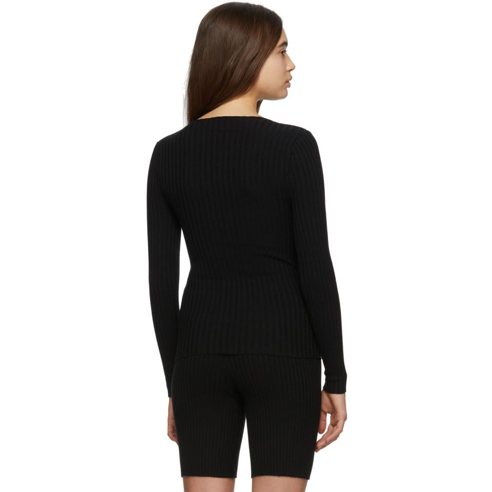 Pull noir Nonna Jewel Coton Giu Giu en coloris Noir