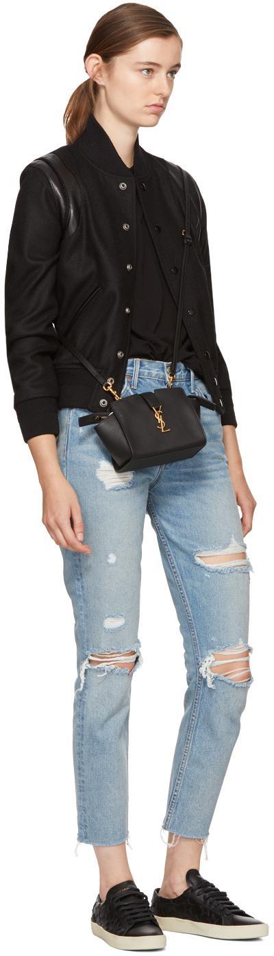 Lyst Saint Laurent Black Toy Ysl Cabas Bag In Black