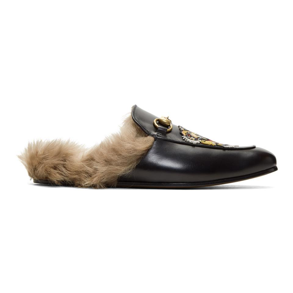 1559ab7ce00 Gucci Princetown Slipper With Tiger in Black for Men - Save 11% - Lyst