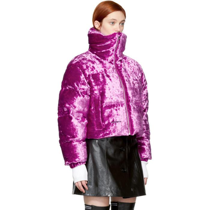 Lyst M I S B H V Pink Velour Down Jacket In Pink