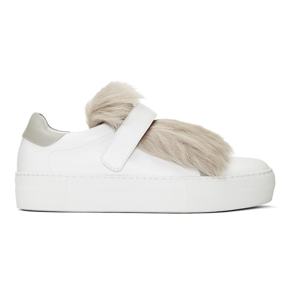 White Fur Victoire Slip-On Sneakers Moncler tNsx0feeHq