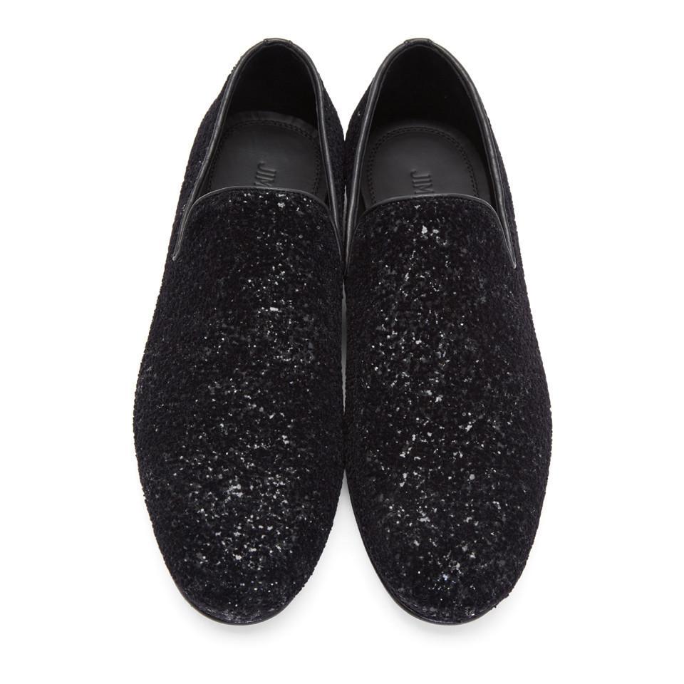 e6e59848862e Lyst - Jimmy Choo Black Velvet Glitter Devore Sloane Loafers in ...