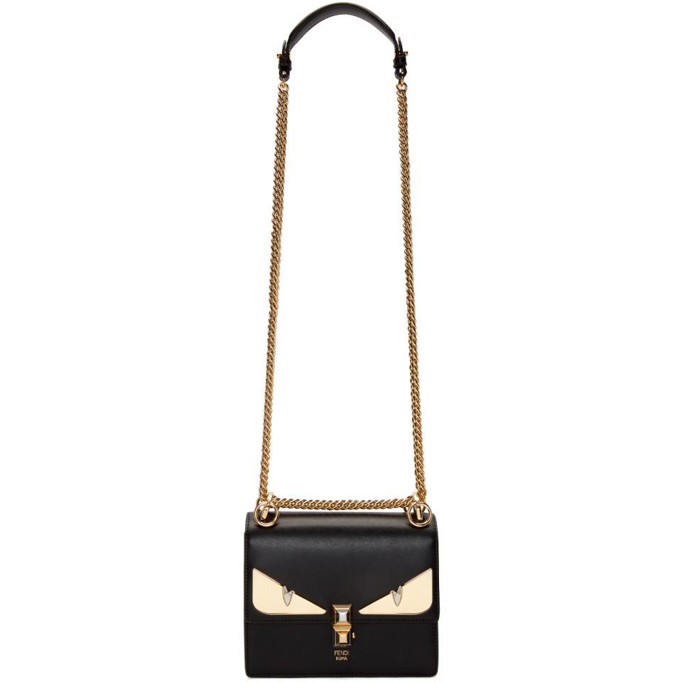 d66985af807 Fendi Black Small Bag Bugs Kan I Bag in Black - Lyst