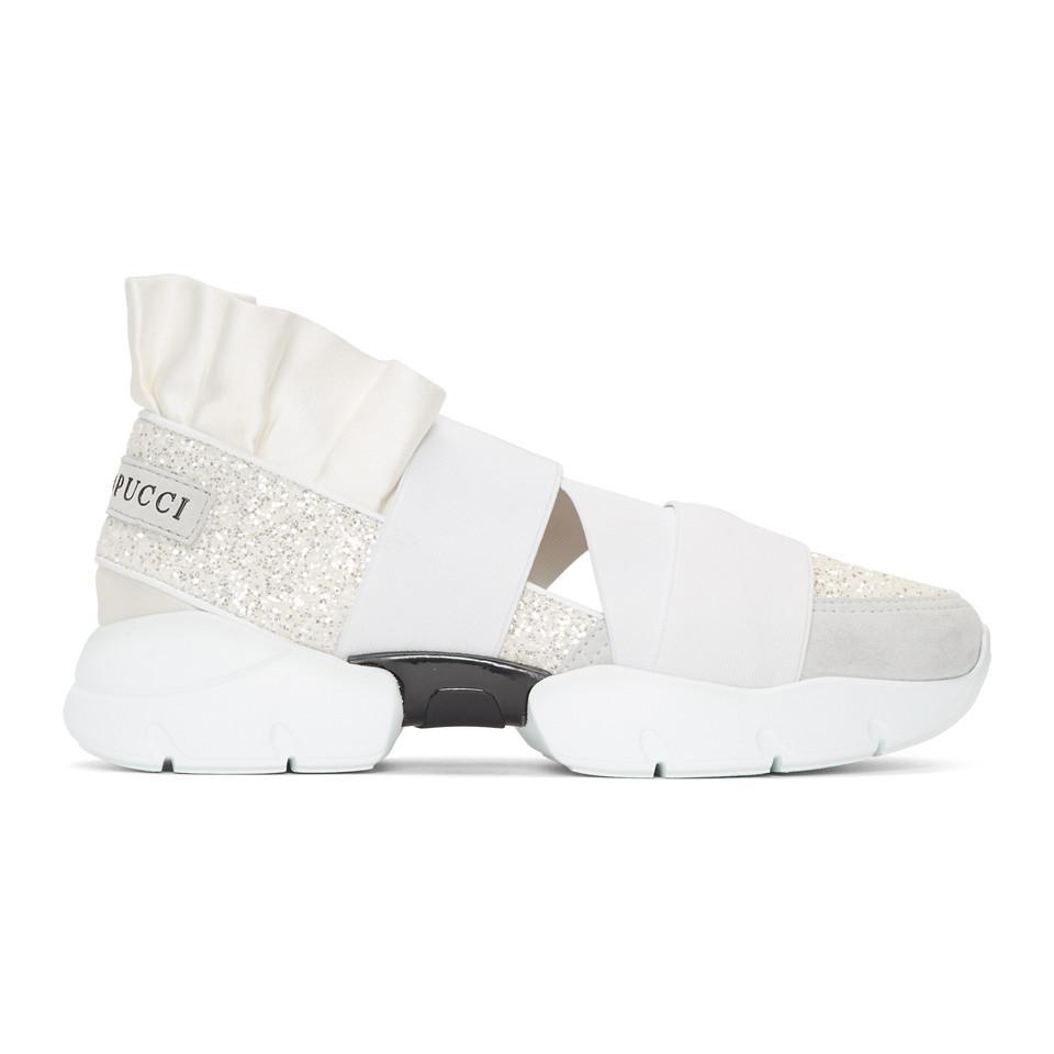 Emilio Pucci Pucci at Night' Glitter Ruffle Elastic Slip-On Sneaker 4Kzpz3Nx
