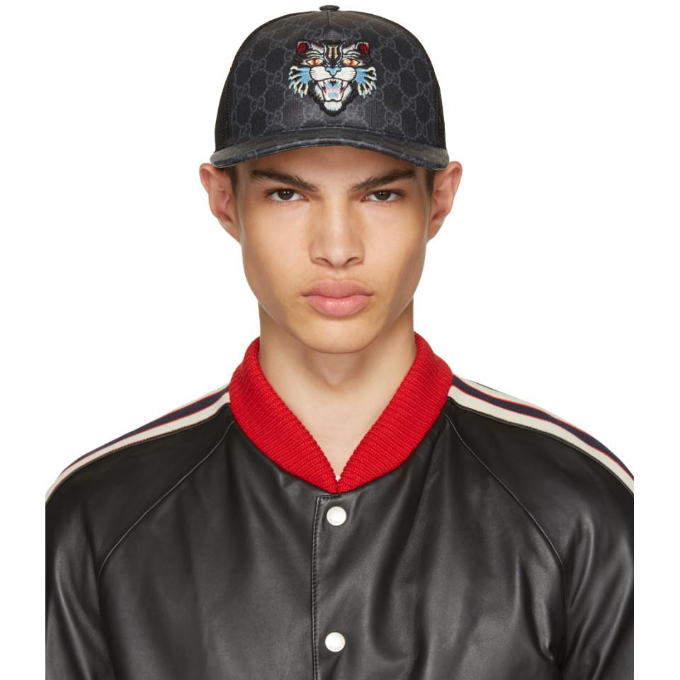 Lyst - Casquette noire Angry Cat GG Supreme Baseball Gucci pour ... bb231ed66bd