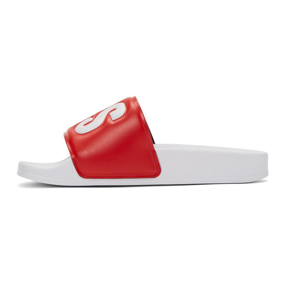 Msgm Red & White Logo Pool Slides Vraiment La Vente En Ligne Acheter Pas Cher Eastbay Moins De 50 Dollars Dédouanement Frais D'expédition Bas Prix Pas Cher À Trouver Les Meilleurs DHD5M9h