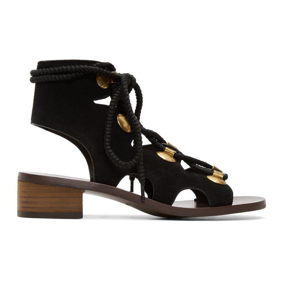 See by Chloé Black Suede Gladiator Tie Sandals uv7M9