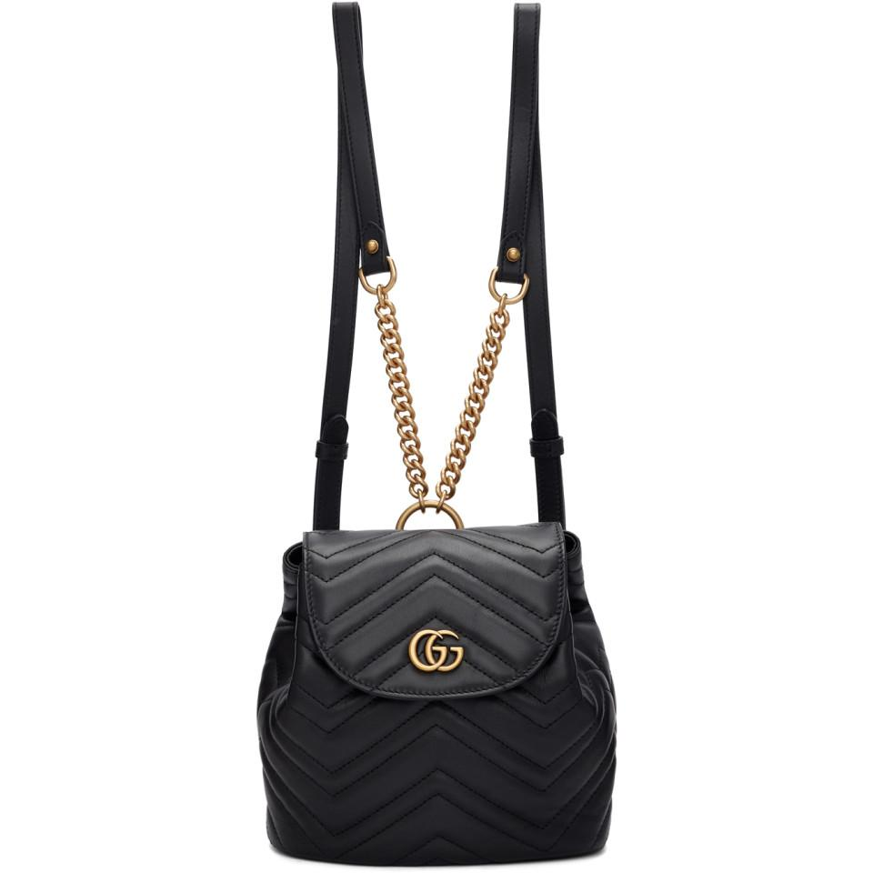 8f3a658feb1b Lyst - Gucci Black Mini GG Marmont 2.0 Backpack in Black