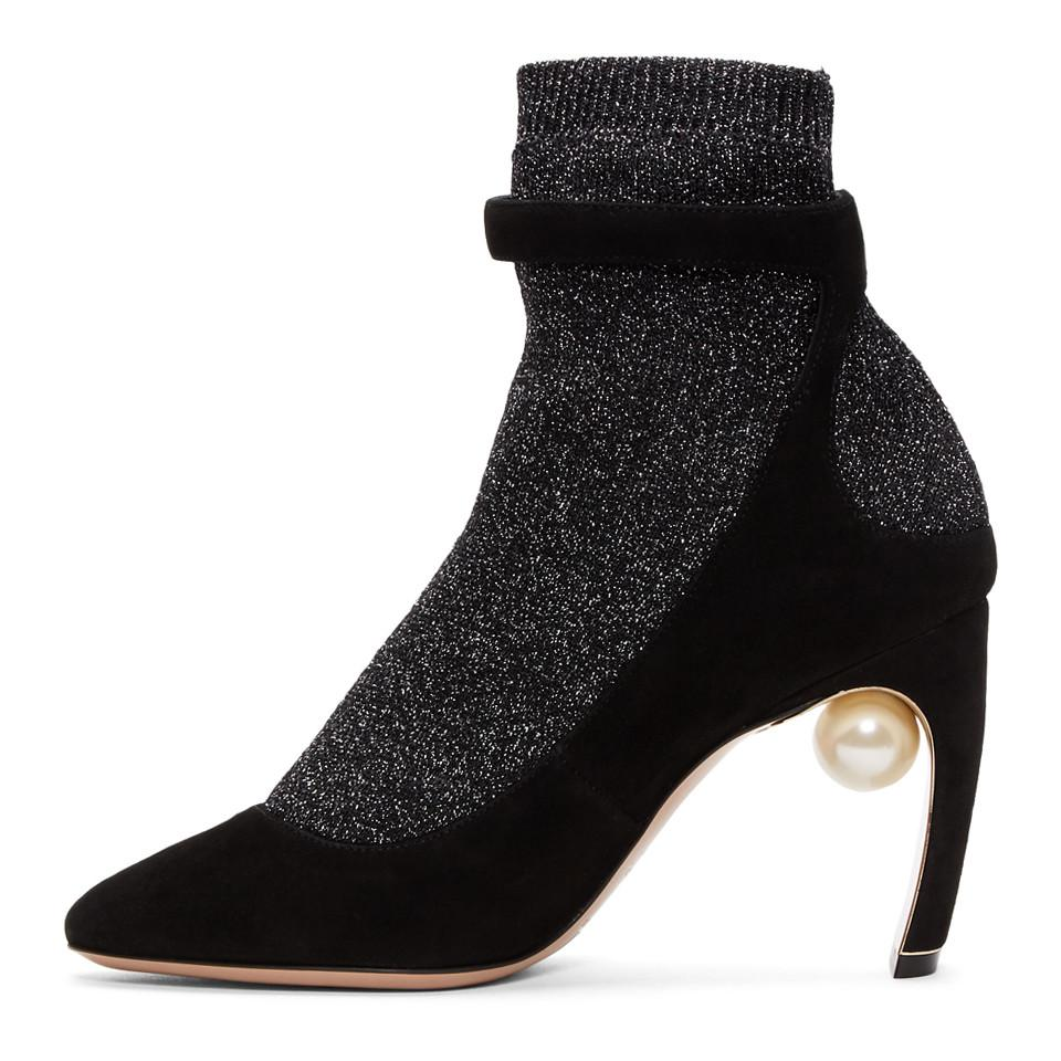 e34789b15da8 Lyst - Nicholas Kirkwood Black And Gunmetal Lola Pearl Sock Pump ...