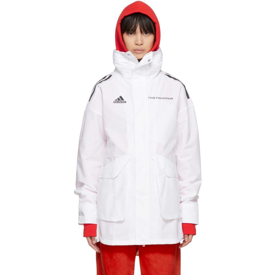 Georgij rubchinskiy bianche adidas originali edizione hardshell cappotto in