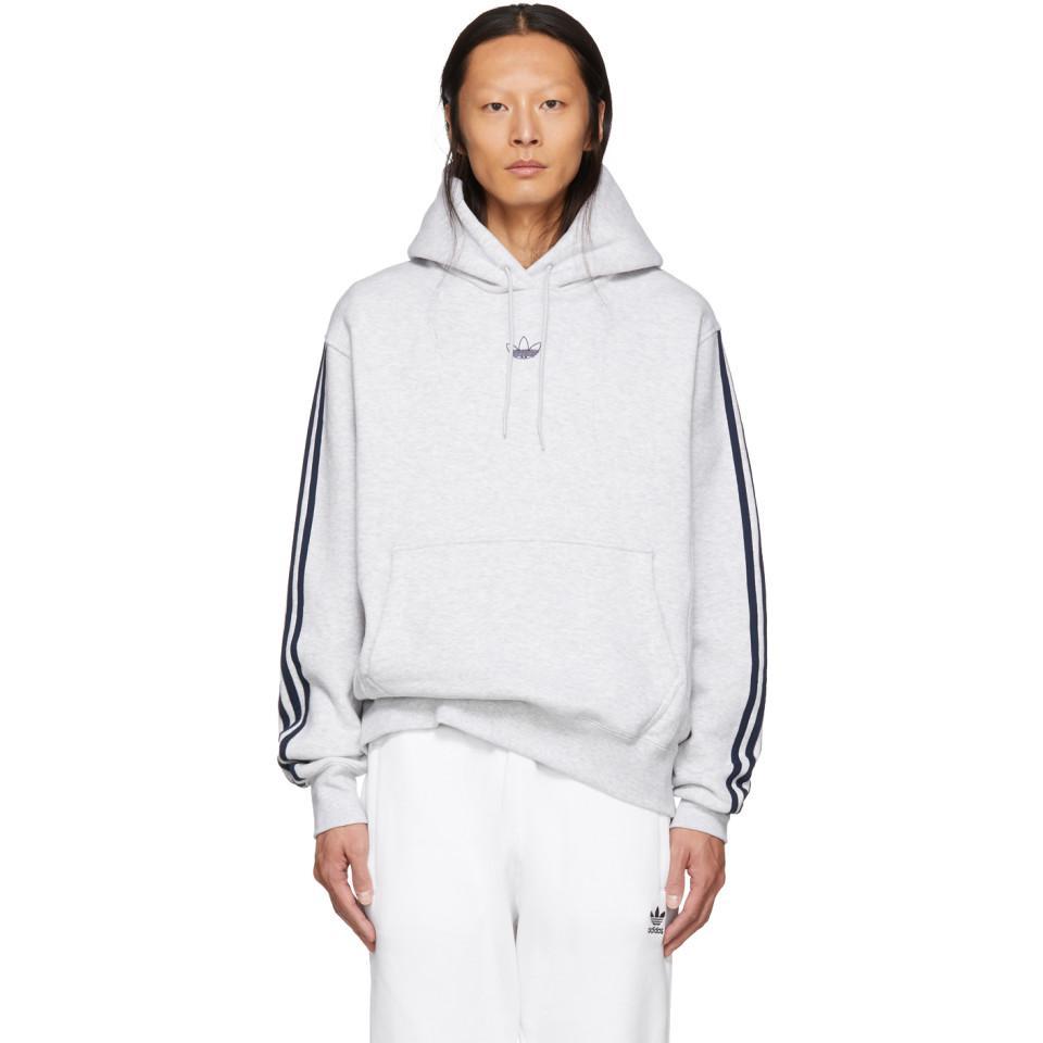 c197a2d8 Adidas Originals Blue Grey Fleece Off Court Basketball Hoodie for men