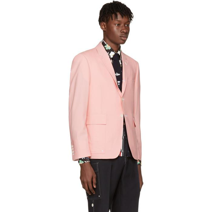 Thom Browne Wool Pink Constructed Square Pocket Blazer for Men