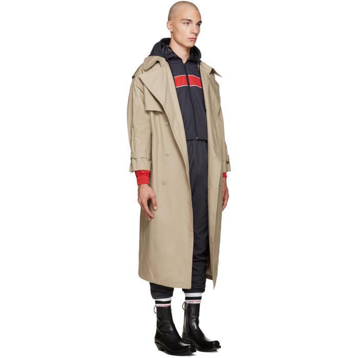 Vetements Cotton Beige Oversized Trench, Oversized Trench Coat Mens