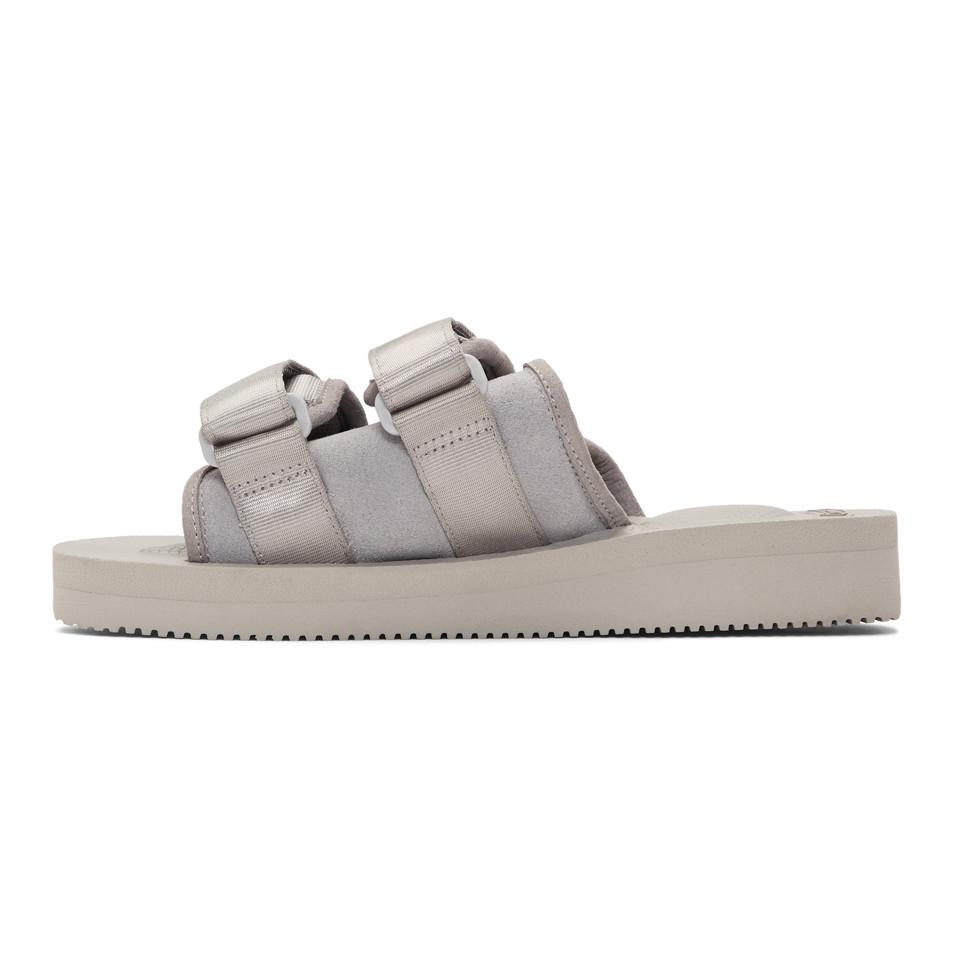 dcca4de2d6ee Suicoke Grey Suede Moto-vs Sandals in Gray for Men - Lyst