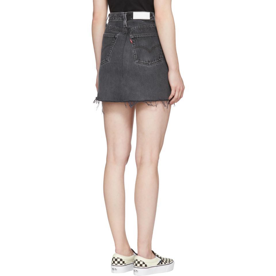41f2825f7217ef Mini-jupe a taille haute en denim noire edition Levis Re/done en coloris  Black