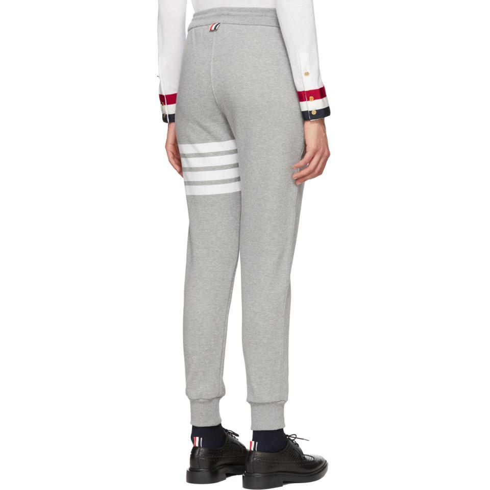 Thom Browne Grey Classic Four Bar Lounge Pants in Grey
