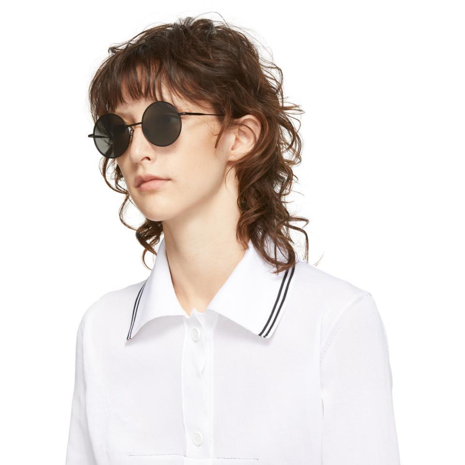 Acne Studios Leather Scientist Sunglasses in Black