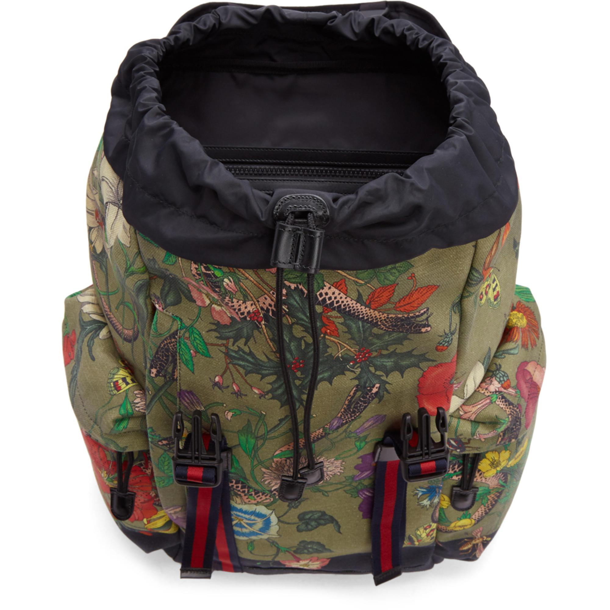 853a32e79d0a Gucci Multicolor Canvas Flora Snake Print Backpack for Men - Lyst