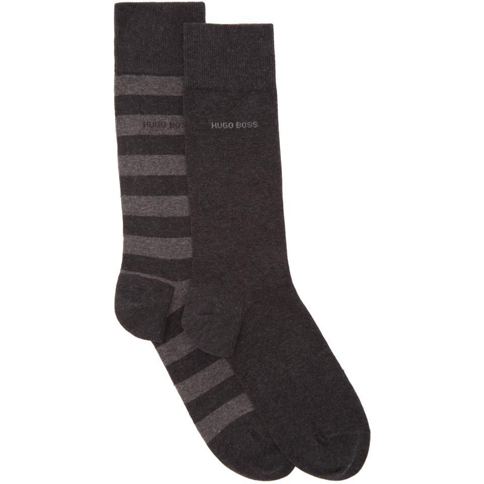 Two-Pack Grey Block Stripe Socks HUGO BOSS On Hot Sale QSK3N