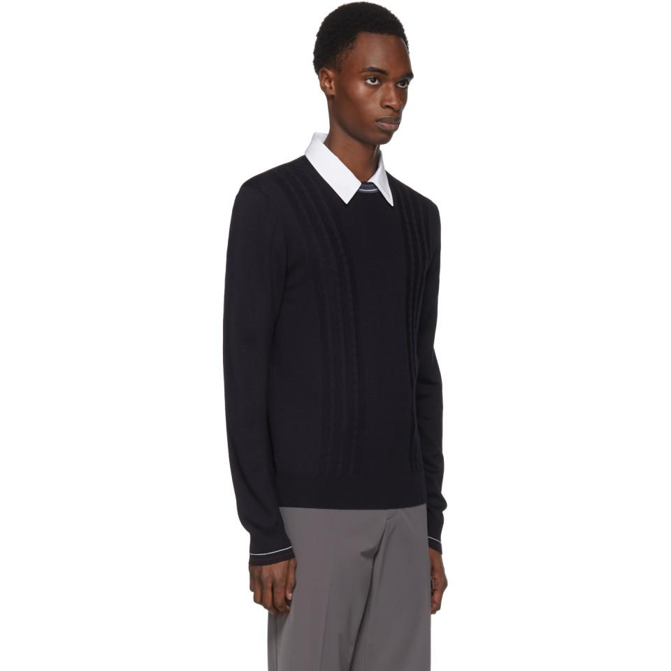 Prada Wool Navy Contrast Collar Sweater in Blue for Men