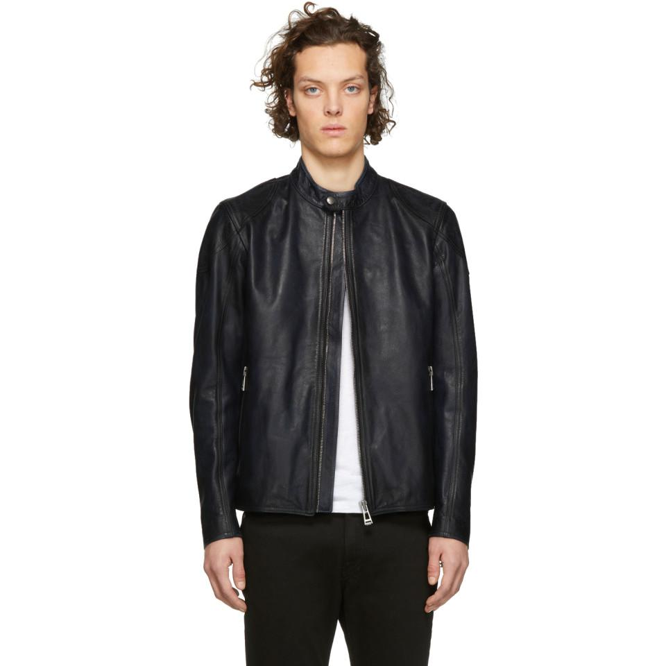 c2da8c04a14 ... Belstaff - Blue Leather Bandit Jacket for Men - Lyst. Visit SSENSE. Tap  to visit site