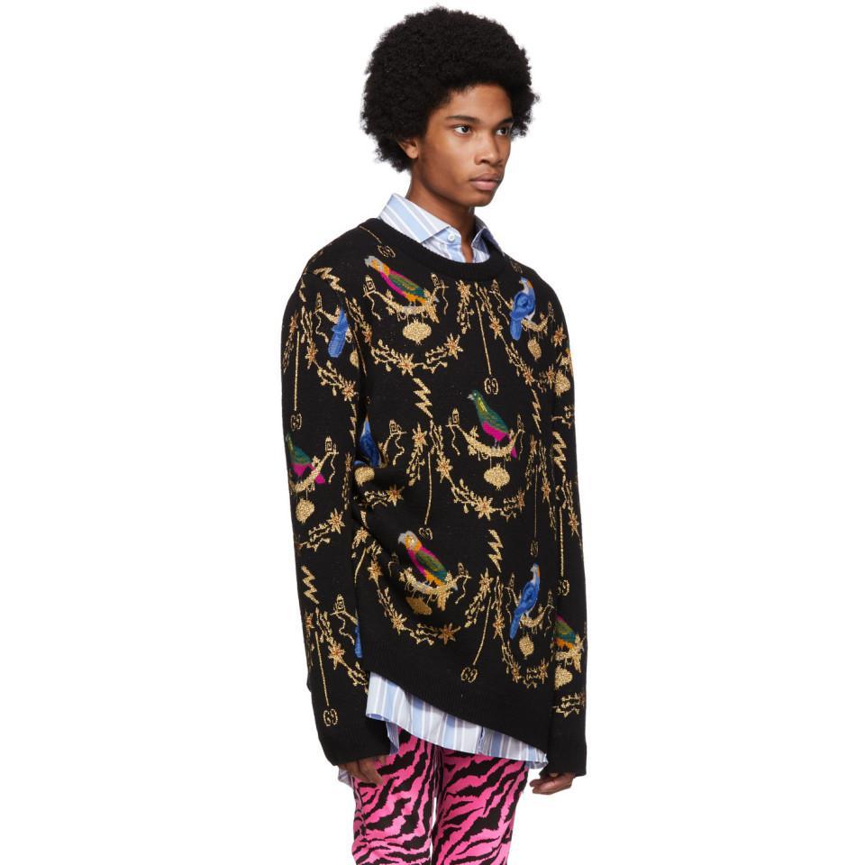 6eb4dc3198e Gucci - Black Voliére Wool Jacquard Sweater for Men - Lyst. View fullscreen