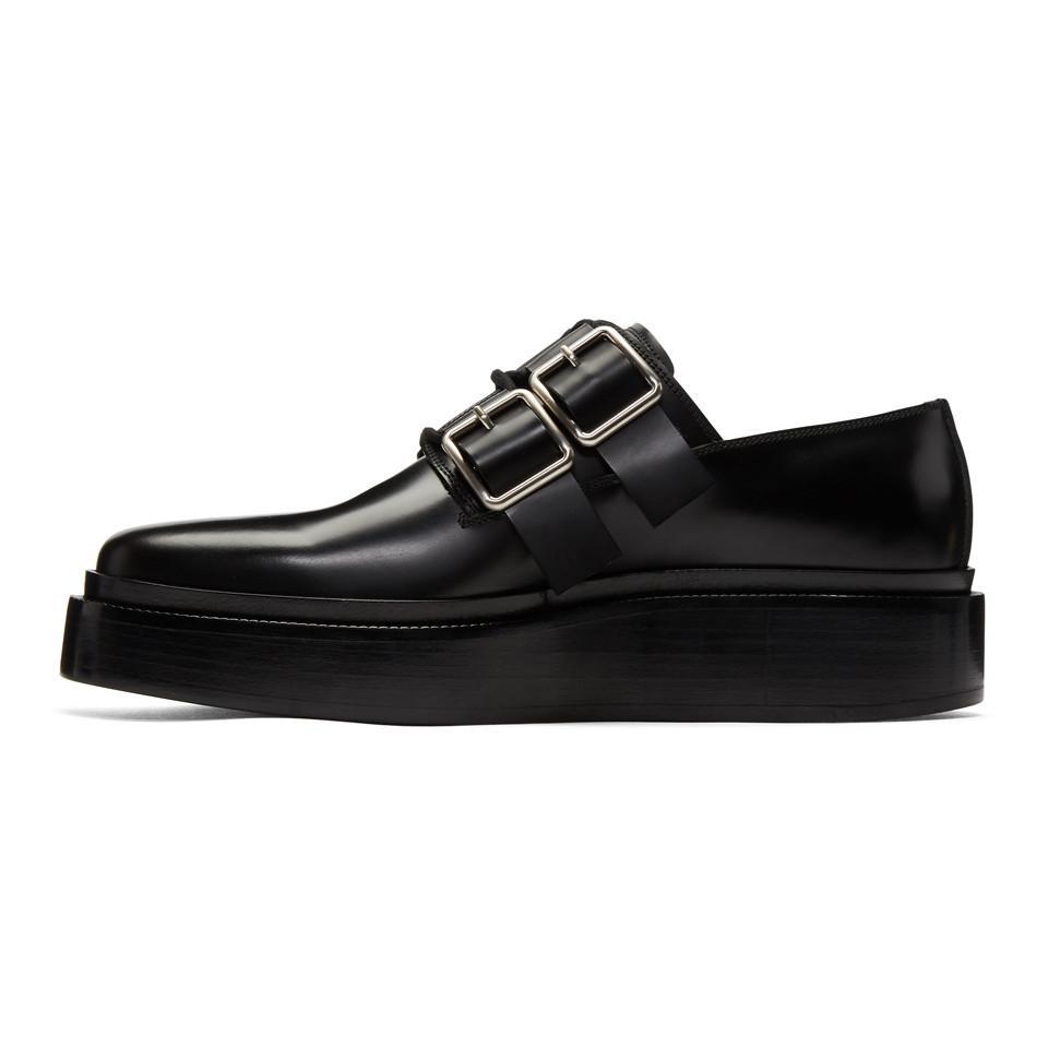 Jil Sander Leather Black Antic Buckle Derbys for Men