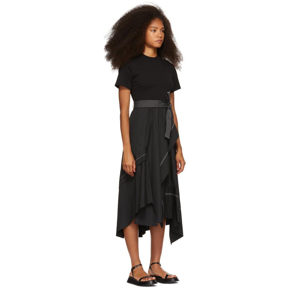 65ac93bc150ae 3.1 Phillip Lim - Black Poplin Combo T-shirt Dress - Lyst. View fullscreen