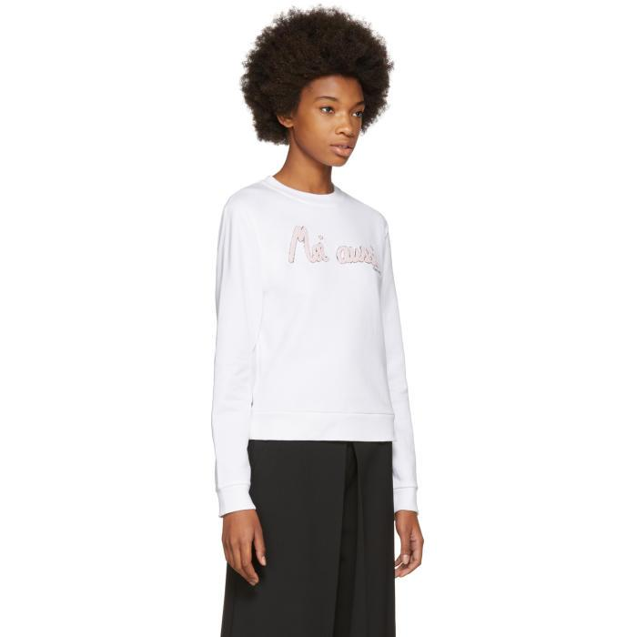 Carven Cotton White 'moi Aussi' Sweatshirt