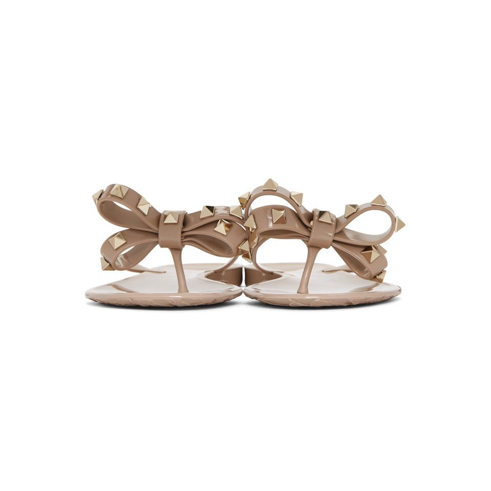 Valentino Taupe Garavani Rockstud Bow Sandals Good Service Popular Free Shipping Cheapest jdpUb3