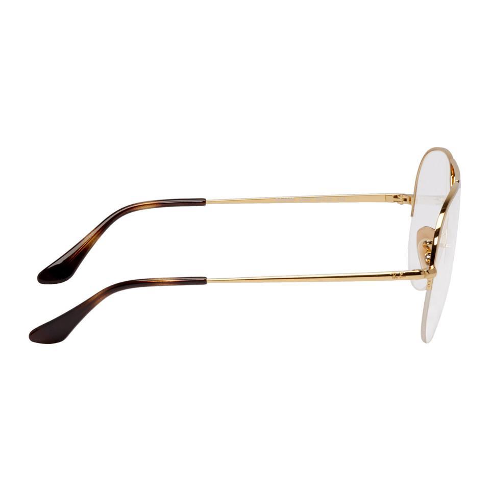 84d64c43f Ray-Ban Gold Gaze Aviator Glasses in Metallic for Men - Lyst