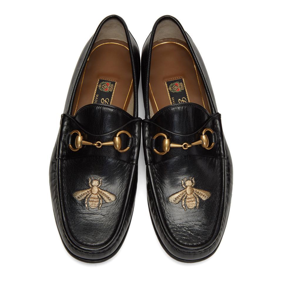 Black Bee Horsebit Loafers for Men