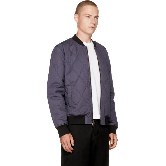 Lyst Levis Navy Quilted Zip Bomber Jacket In Blue For Men