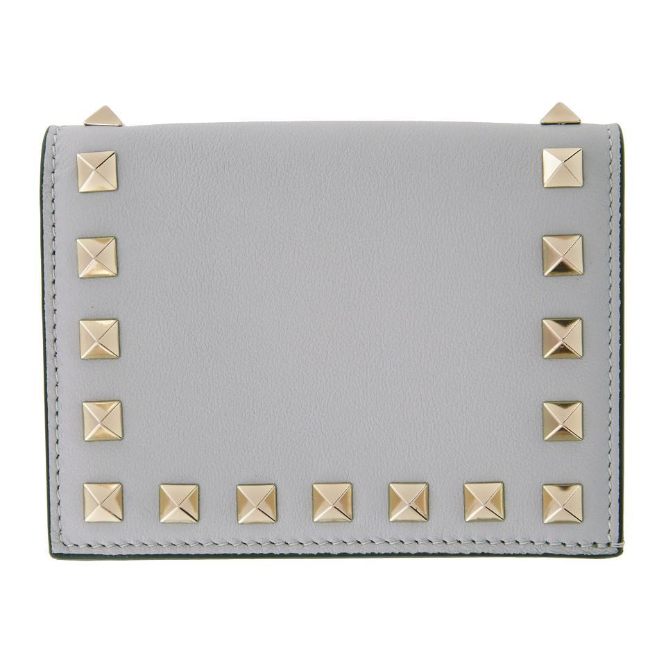 Grey Valentino Garavani Rockstud French Flap Wallet Valentino rtiGZoJ