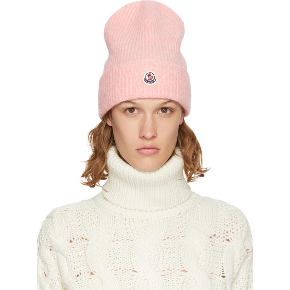 Pink Logo Beanie Moncler Spr2qhpH5