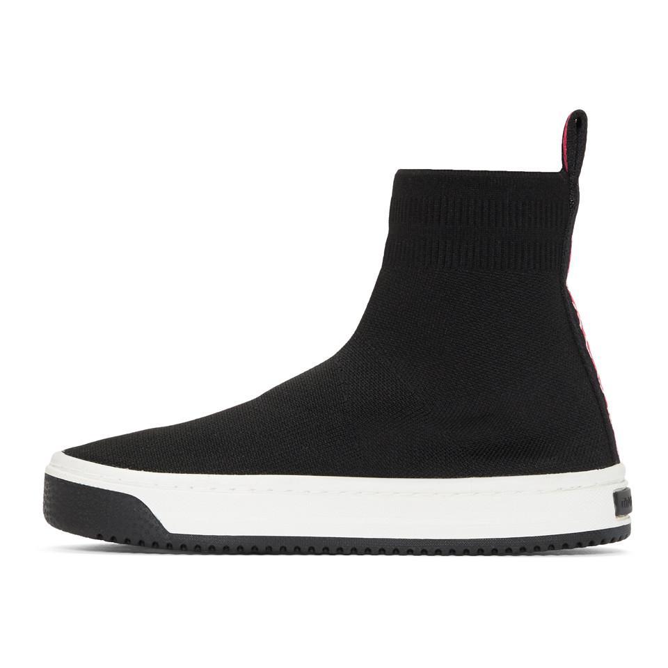 Solid Logo Dart Sock Sneaker in Black